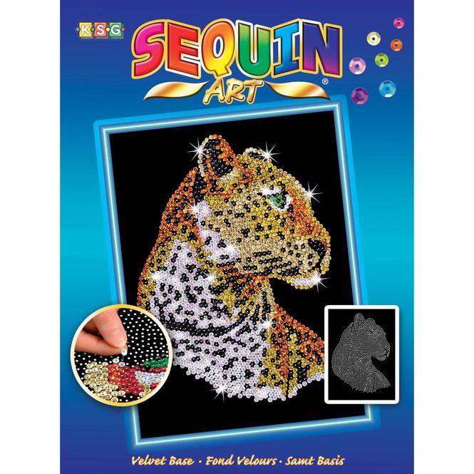 Sequin Art Blue - Leopard