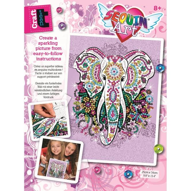 Sequin Art Teen Craft - Elefant