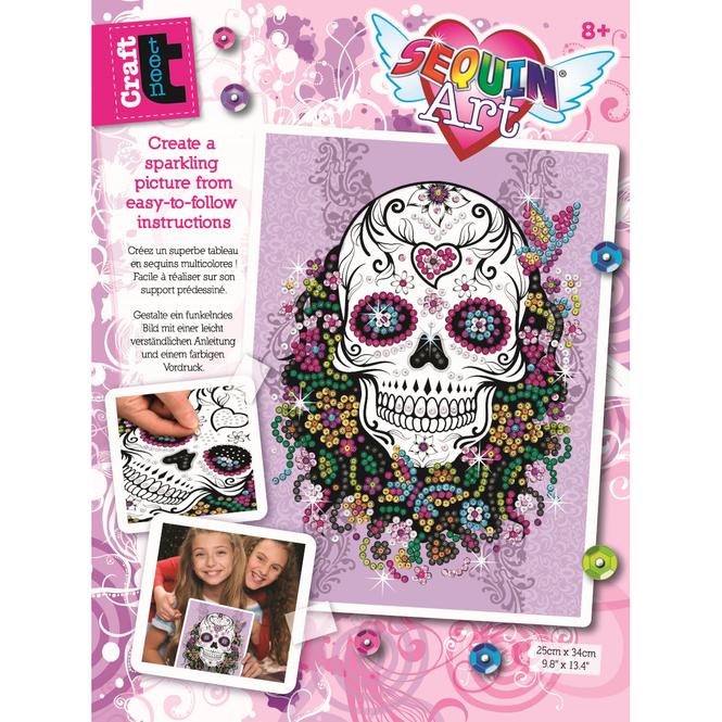 Sequin Art Teen Craft - Flower Skull