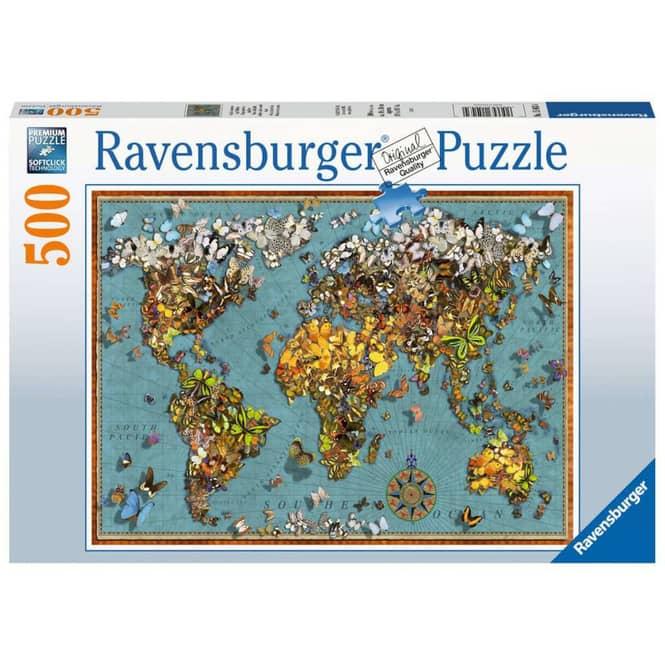 Puzzle - Antike Schmetterling-Weltkarte - 500 Teile