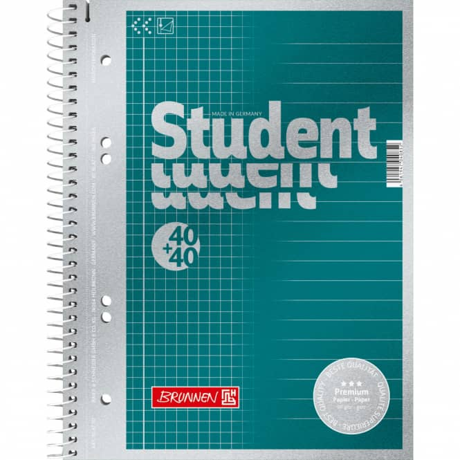 Brunnen - Collegeblock Premium Student - Duo A5 - petrol-matallic