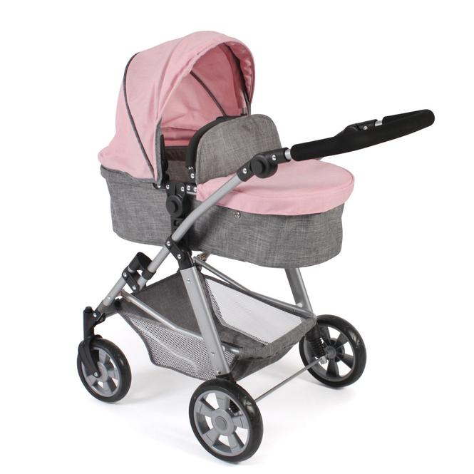 Kombipuppenwagen - Nele - melange grau-rosa