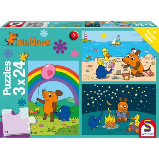 Die Maus - Puzzle Gute Freunde - 3x24 Teile