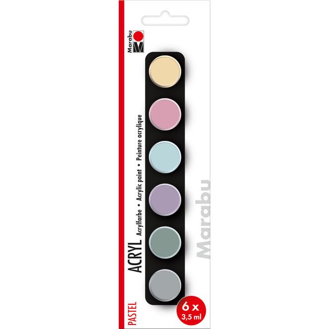 Marabu - Acryl Farben - Pastell - 6 Farben á 3,5 ml