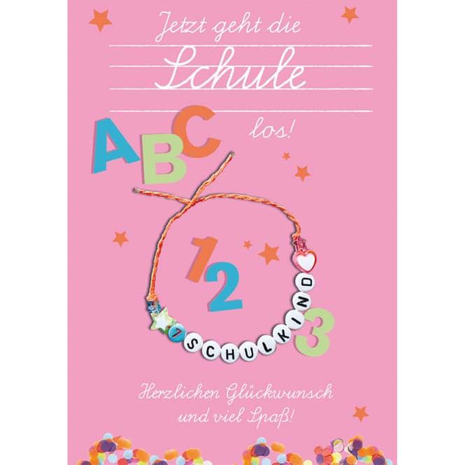 Schulanfangskarte - Armband - rosa