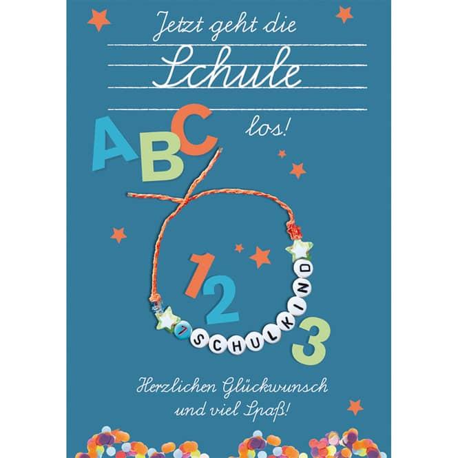 Schulanfangskarte - Armband - blau