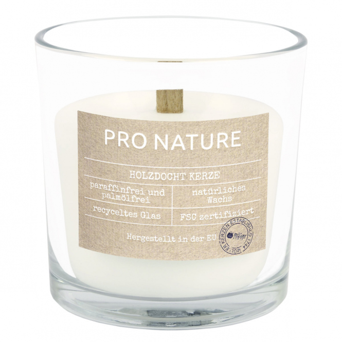 Kerzenglas - mit Holzdocht - ca. 10 x 10 cm