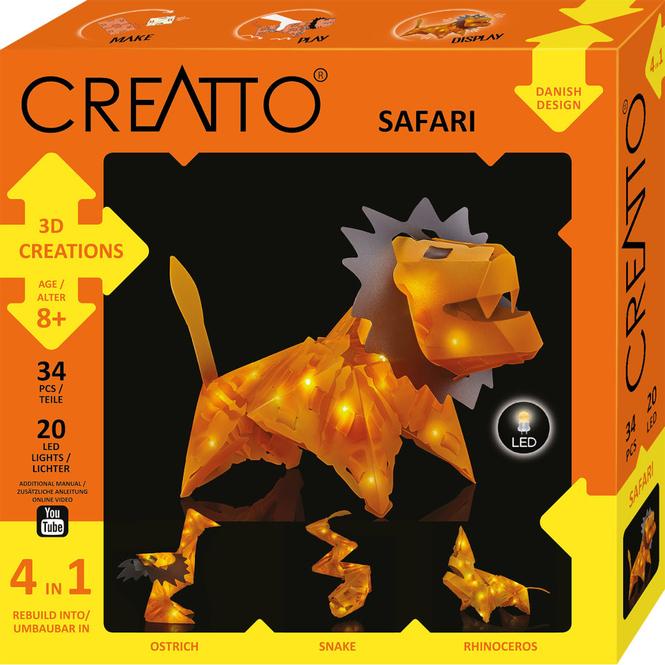 CREATTO - Löwe - Safari - 3D Puzzle mit LED-Lichtern