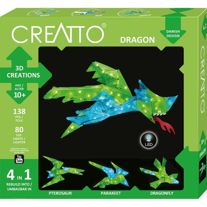 CREATTO - Drache - Dragon - 3D Puzzle mit LED-Lichtern