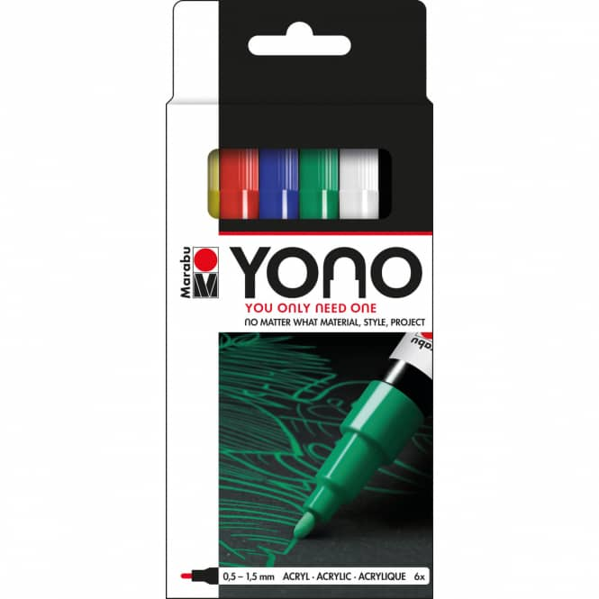 Marabu YONO - Acryl- Marker-Set - 6 x 0,5 - 1,5 mm