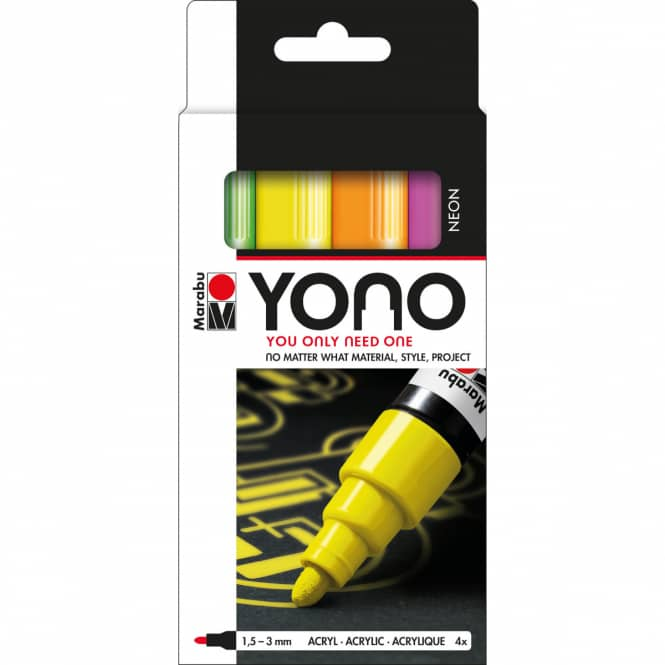 Marabu YONO - Acryl-Marker-Set Neon - 4 x 1,5-3 mm