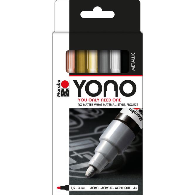 Marabu YONO - Marker-Set Metal - 4 x 1,5-3 mm