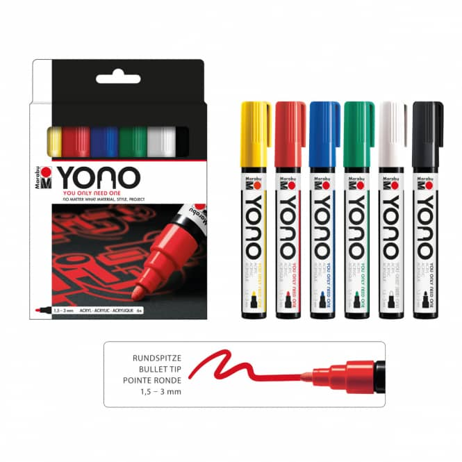 Marabu YONO - Acryl-Marker-Set - 6 x 1,5-3 mm