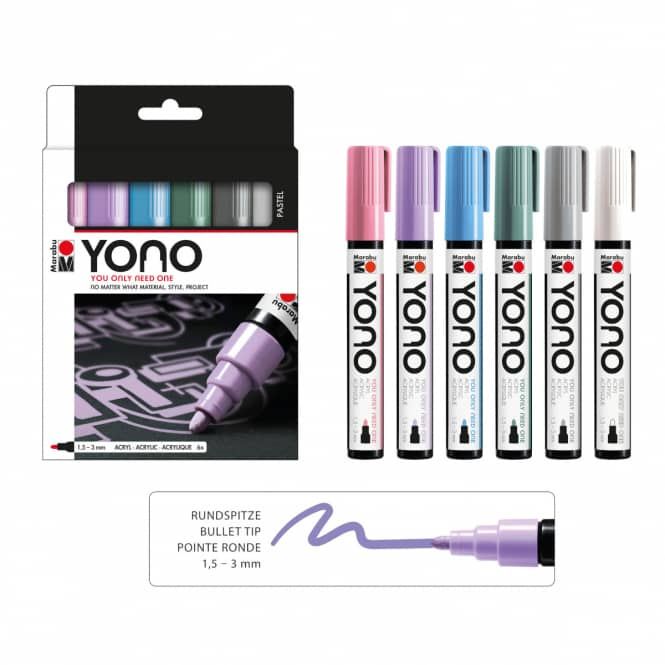 Marabu YONO - Acryl-Marker-Set Pastell - 6 x 1,5-3 mm