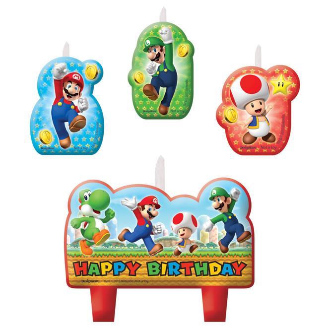 Super Mario - Mini-Figurenkerzen - 4 Stück