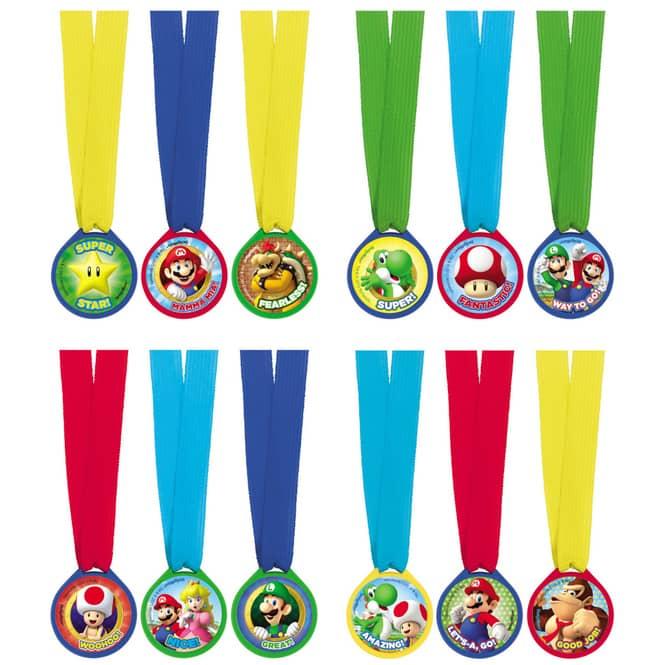 Super Mario - Medaillen - 12 Stück