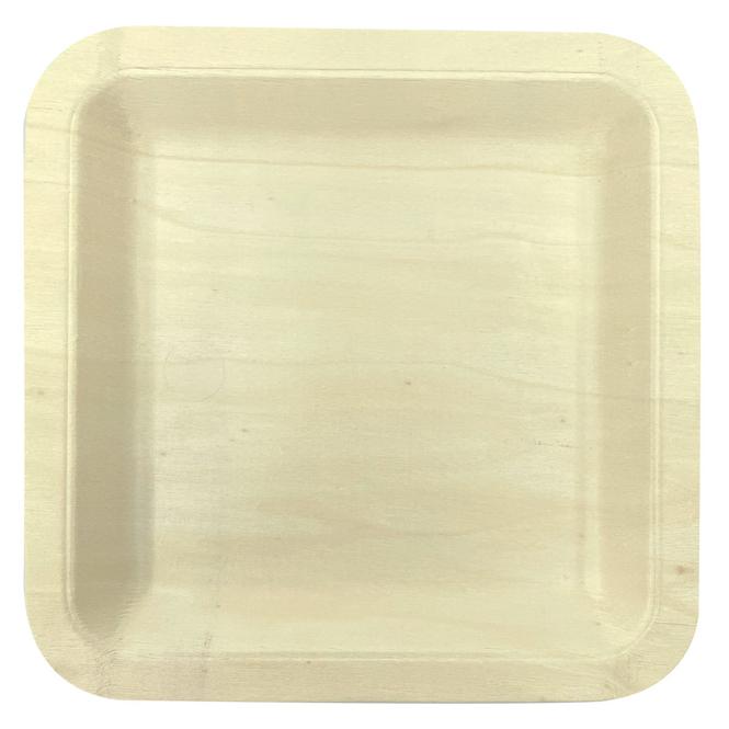 4 Teller - aus Holz - ca. 21 x 21 cm