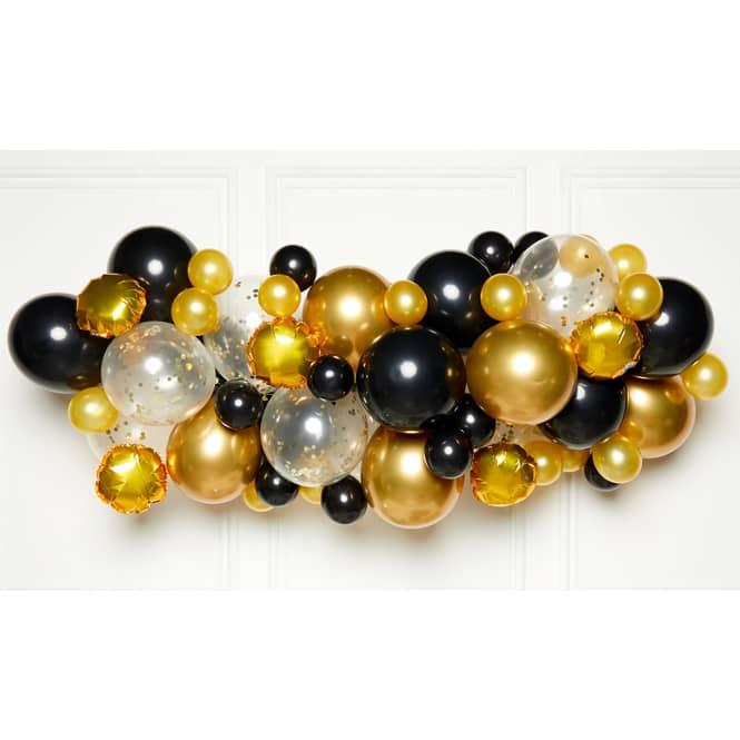 DIY Ballongirlande - Schwarz Gold - 66 Stück