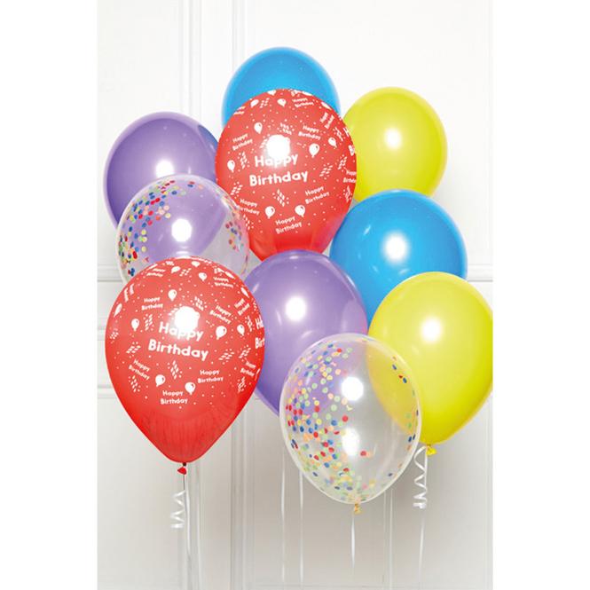 Ballon-Set - Happy Birthday - Regenbogen - 10 Stück