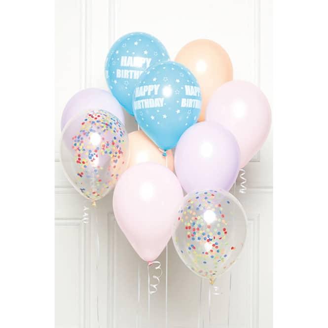 Ballon-Set - Happy Birthday - Pastell - 10 Stück