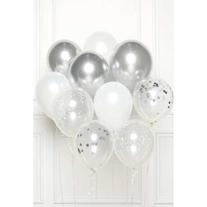 Ballon-Set - Silber - 10 Stück