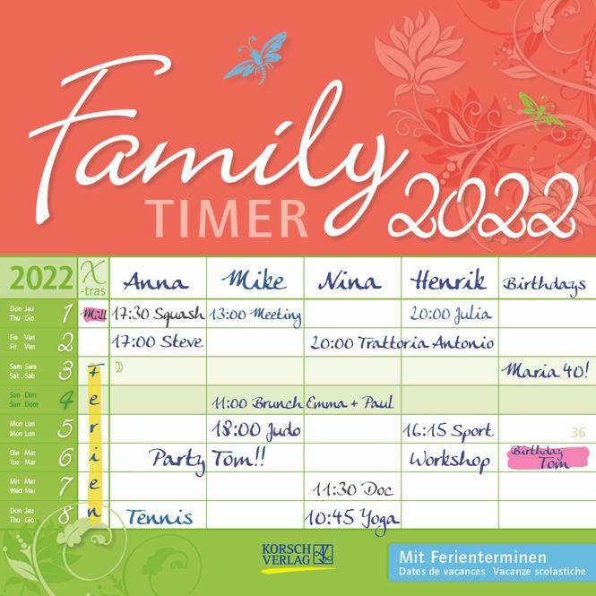 Kalender - Family Timer Floral 2022