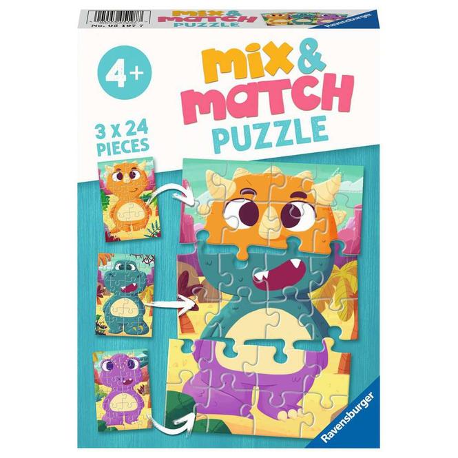 Mix & Match Puzzle - Niedliche Dinos - 3 x 24 Teile