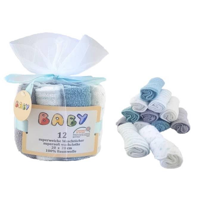 Baby-Waschtücher - 12 Stück - türkis