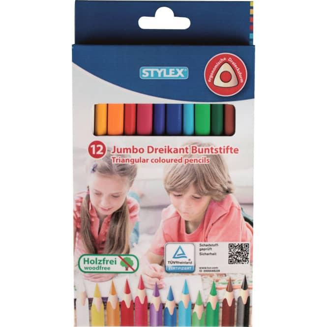 12 Jumbo Dreikant Buntstifte - Stylex