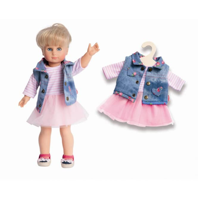 Puppen Tüllkleid mit Jeansweste - Größe 28 bis 35 cm