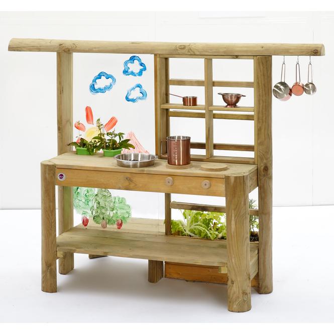 Plum - Discovery Holz-Spielküche mit Mal- und Bepflanzungsmöglichkeiten - ca. 36 x 160 x 53 cm