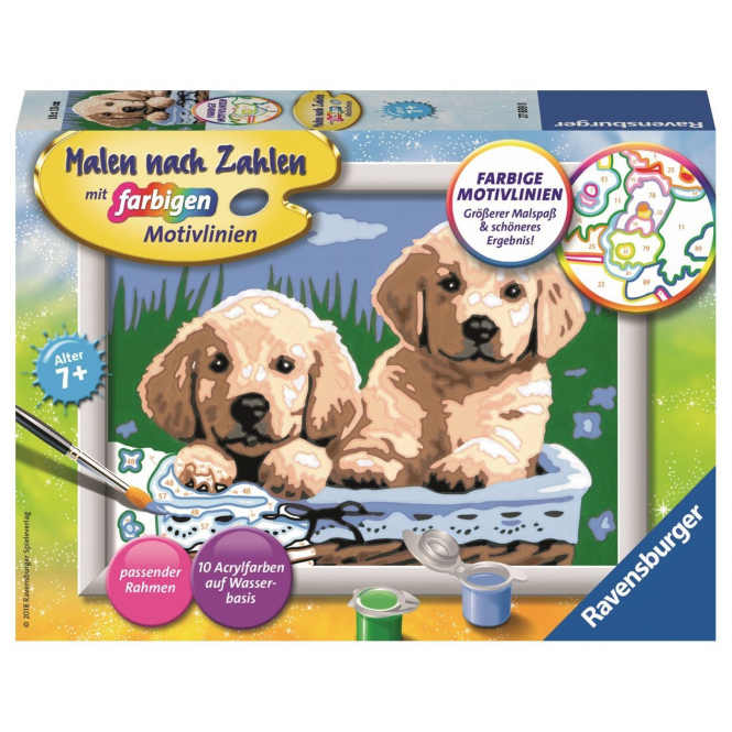 Malen nach Zahlen - Süße Hundewelpen - Classic Serie E