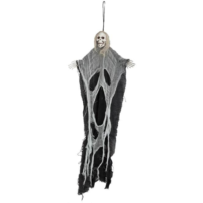 Skelett zum Hängen - mit schwarz/grauen Stofffetzen und Kette - 60 cm
