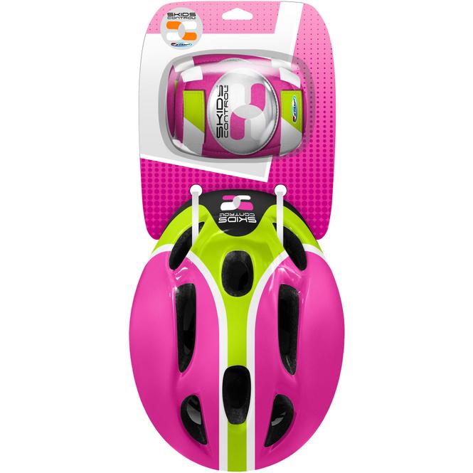 Combo Set - Helm, Ellbogen- und Knieschutz - pink/grün