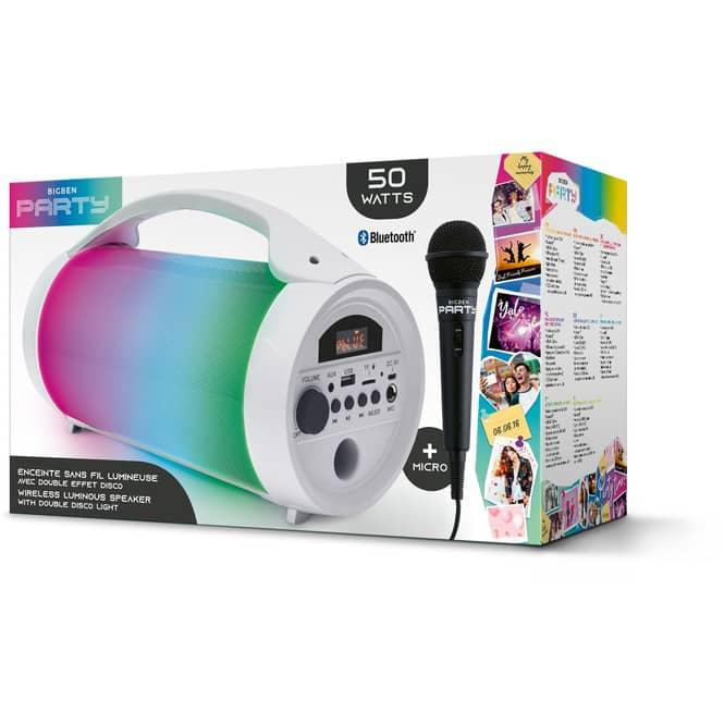 Bluetooth Lautsprecher -  Party mit Mikrofon - weiß