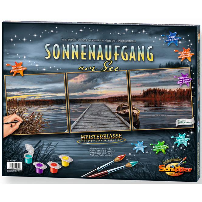 Malen nach Zahlen - Sonnenaufgang am See - Meisterklasse Triptychon - Schipper