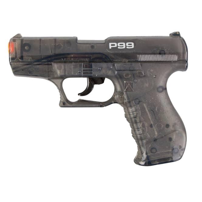 Spielzeug-Pistole P99 - 18 cm - schwarz-transparent