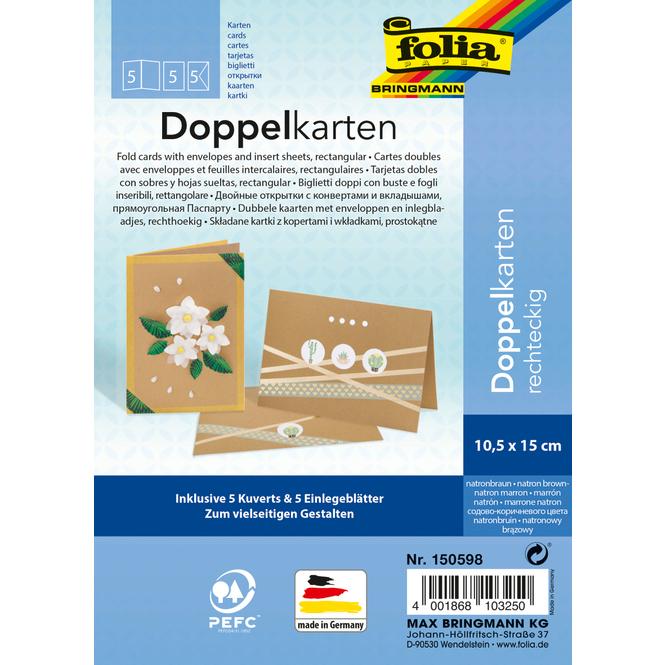 Doppelkarten - natronbraun - 5 Stück