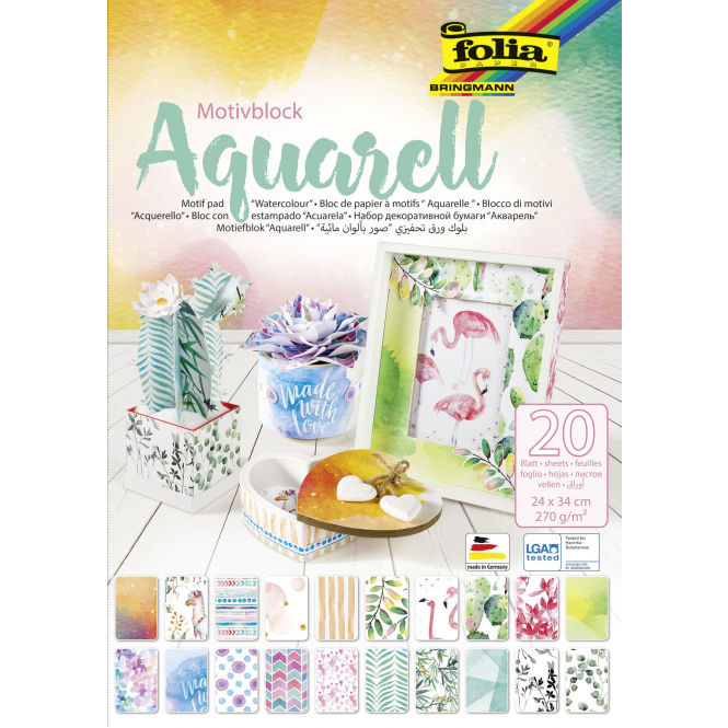 Motivblock Aquarell - 20 Blatt - 24 x 34 cm - 270 g/qm