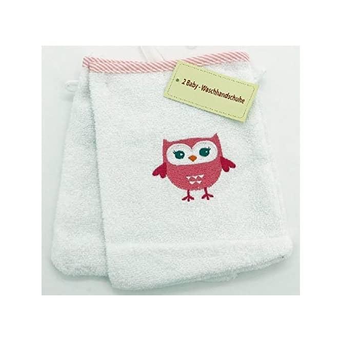 Babywaschhandschuh mit Eulen-Motiv - 2 Stück
