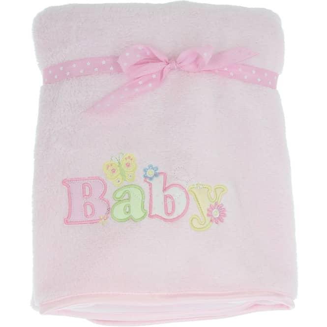 Babydecke - mit Stickerei - 75 x 100 cm - rosa