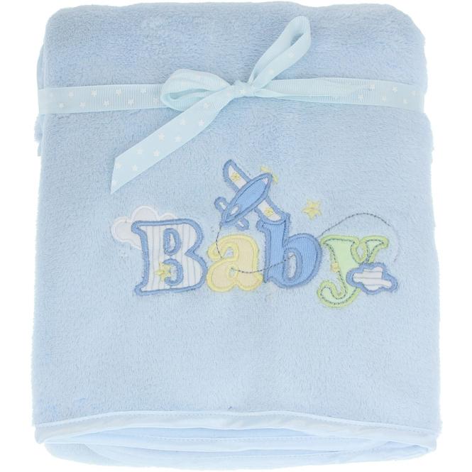 Babydecke - mit Stickerei - 75 x 100 cm - blau