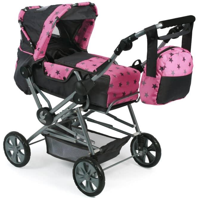 Kombi-Puppenwagen - Road Star - schwarz-pink, mit Sternen