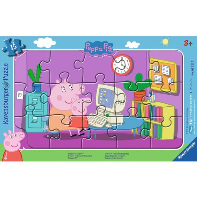 Peppa am Computer - 15 Teile Rahmenpuzzle - Peppa Wutz