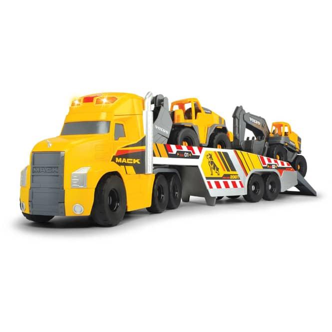 LKW mit zwei Volvo Baustellen-Fahrzeugen