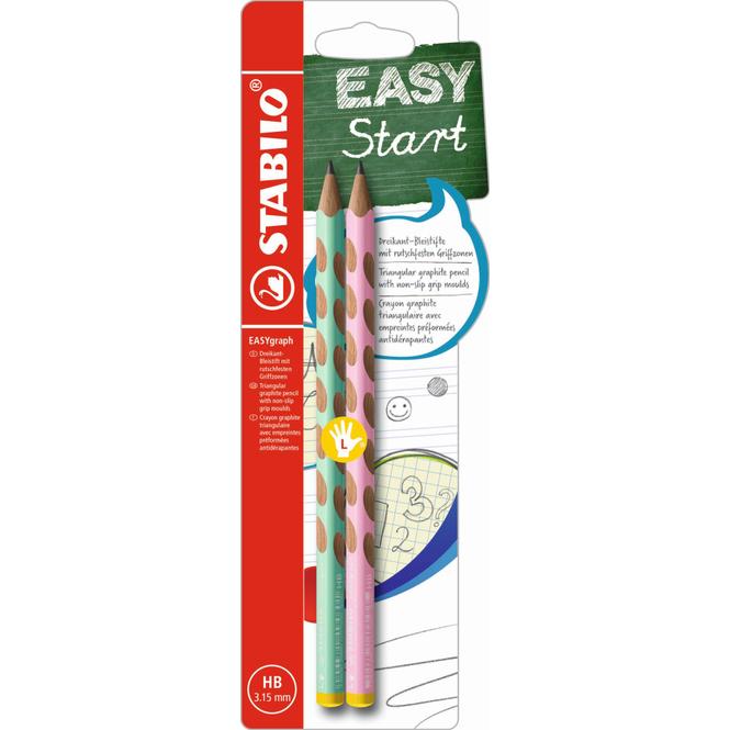 EASYgraph - HB Dreikant-Bleistift für Linkshänder - pastell - 2 Stück