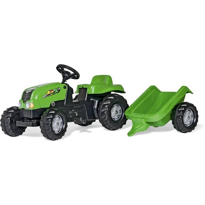 Trettraktor mit Anhänger - rollyKid-X - rollyKid Trailer - grün