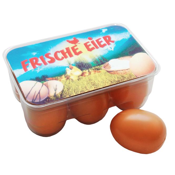 Kaufladenzubehör - 6 Eier in Box
