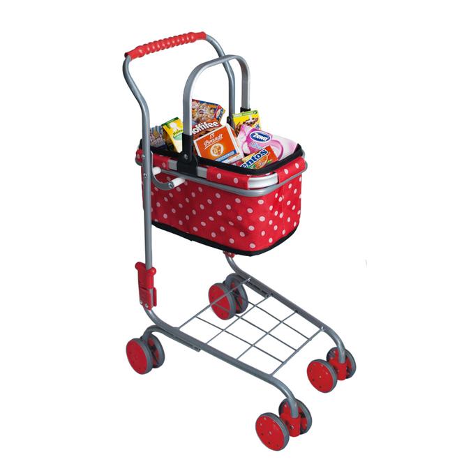 Kaufladenzubehör - Einkaufswagen mit Tragekorb und Zubehör