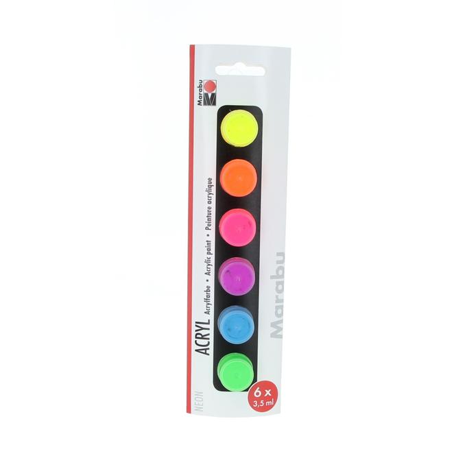 Marabu - Acryl Farben Set - Neon - 6 Farben á 3,5 ml
